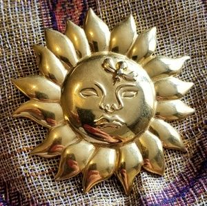 Vintage MMA Sun Brooch 1990 gold tone pin
